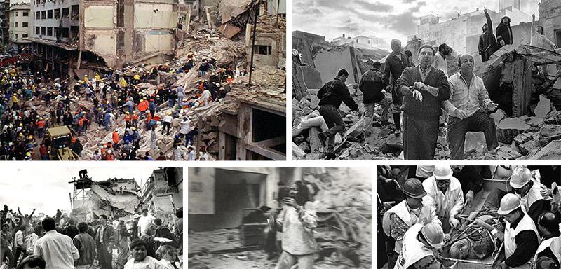 """****nacp2NOTICIAS ARGENTINASBAIRES, NOVIEMBRE 9: Fotografia de archivo del atentado a la AMIA ocurrido el 18 de Julio de 1994 en el que  murieron 85 personas.  El fiscal Alberto Nisman anunció esta tarde que """"se identificó al conductor suicida"""" que estrelló una camioneta cargada de explosivos contra el edificio de la Asociación Mutual Israelita Argentina (AMIA) en 1994.Foto: ARCHIVO NA.****"""